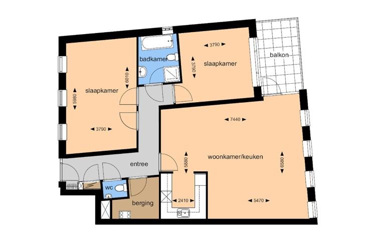 Verhuurtekening appartement